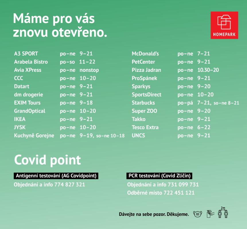 Covid aktualizace - Aktuální otevírací doba - Homepark Zličín - 10. května 2021